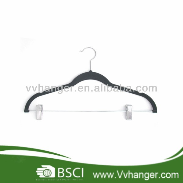 Non-slip Sale velvet plastic clothes skirt hangers with clip