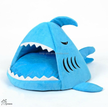 High quality shark shaped plush indoor cat houses soft indoor dog house plush dog house