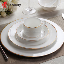 Hot sale royal cheap pure white round ceramic dinner plate / dish with gold rim