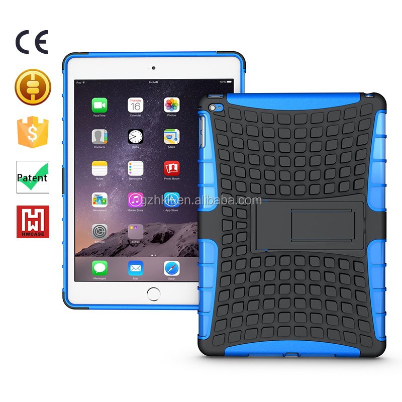2 in 1 hybrid kickstand case cover for ipad air 2/Shockproof TPU+PC heavy duty phone cover for ipad cover