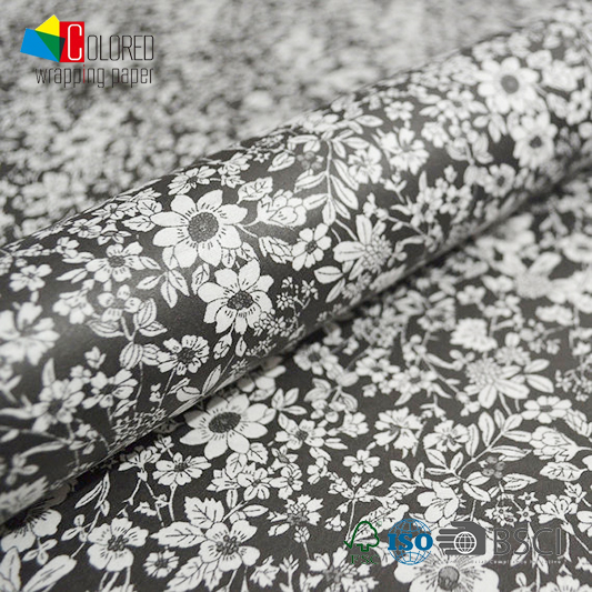 Italian Style Printing Gift Wrapping Paper Black and White Simple Design