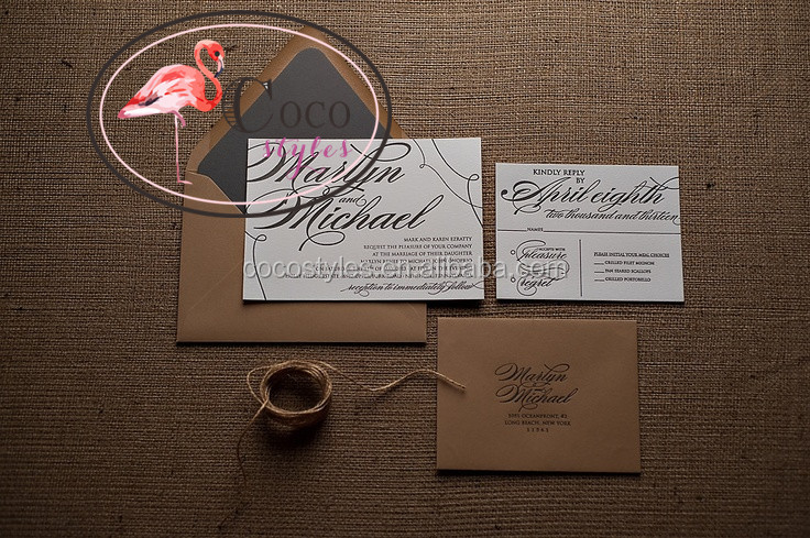 rustic wedding invitation with black letterpress