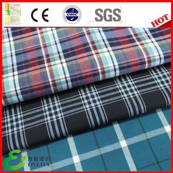 Yarn dyed black check polyester/viscose tartan fabric