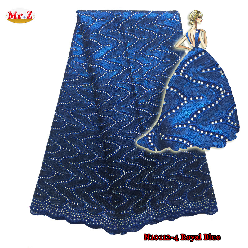 Royal Blue Sequins Tulle Lace Fabric With Stones