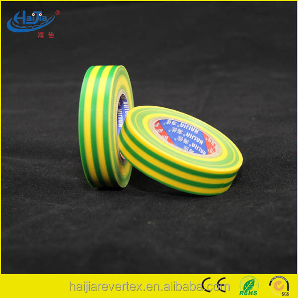 Yellow green fireproof insulation pvc electrical tape