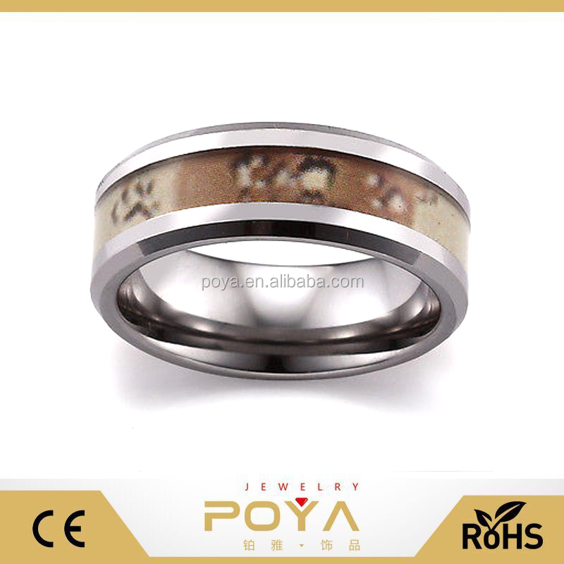 POYA Jewelry 8mm Men's Women's Camo Ring Tungsten Camouflage Wedding Band Ring