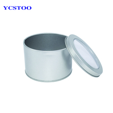 Small Round Favor Metal Tin Box With Clear View Top Lids Wholesale