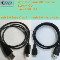 custom flexible supper thin black or white micro usb 3.0 cable