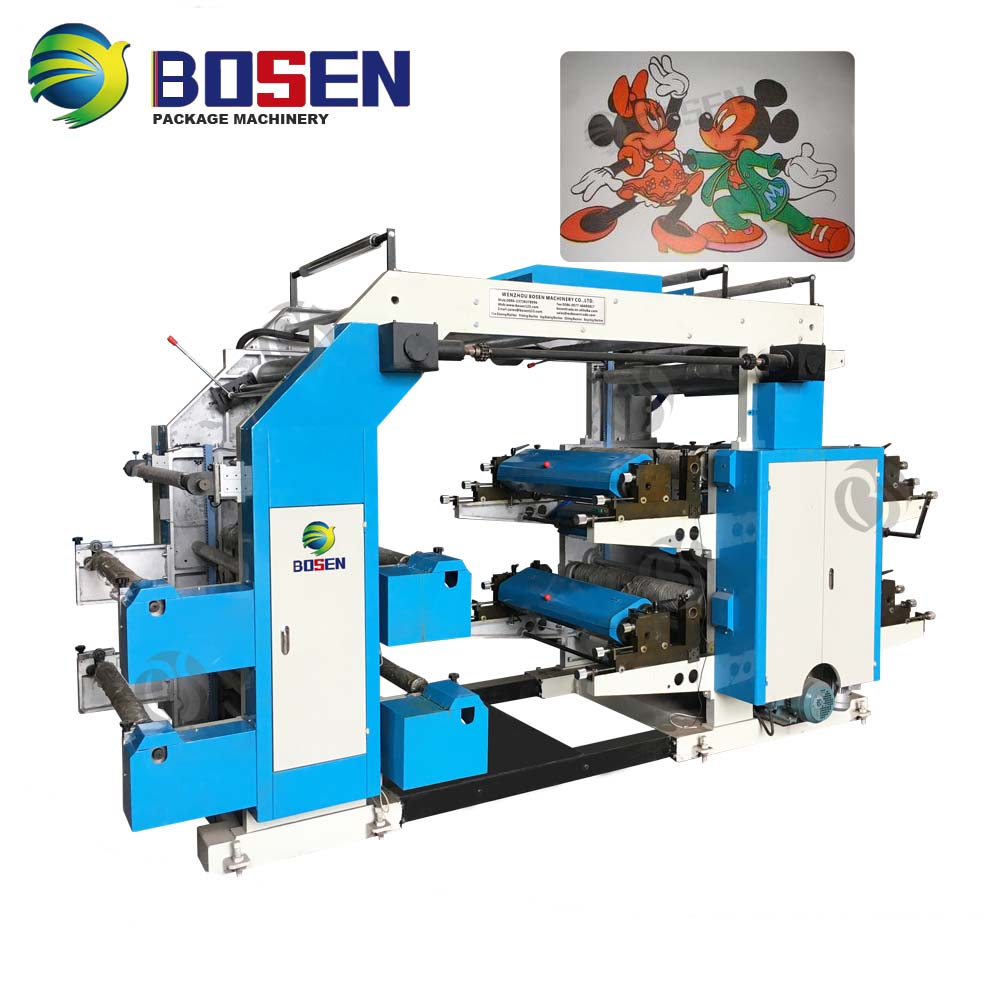 AUTOMATIC T-SHIRT BAG SOFT PLASTIC FILM NONWOVEN PP PE PVC 2 COLOR 4 6 COLORS AUTO FLEXOGRAPIC PRINTING MACHINE FLEXO PRINTER