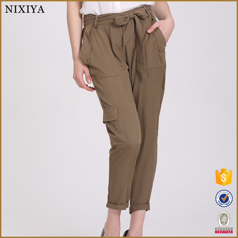 Wholesale Rayon Army Green Ninth Trousers Women Casual Pants