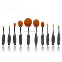2016 High Quality 10pcs Soft Oval Makeup Brushes Set Cosmetic Toothbrush Curve Foundation Cream Powder Blusher Makeup brush Tool