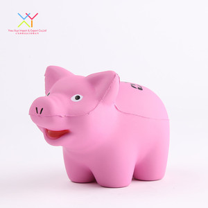 PU Foam Pink Pig Customized Shape Stress Reliever Ball