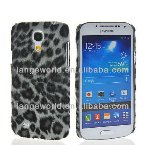 2013 New Arrival Leopard Hard Wool leather Skin Case Cover for Samsung Galaxy S4 mini I9190