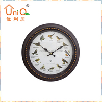 Plastic Wooden Finishing Effect Wall Clock With Bird Sounds