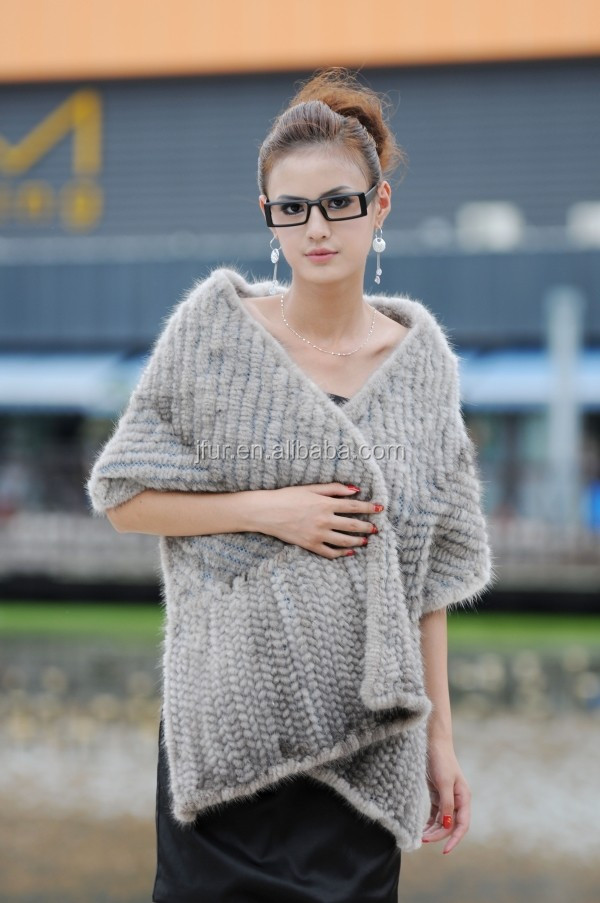 Real Hand Knitted Mink Fur Cape Women's Crochet Genuine Mink Fur Shawl