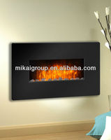 Wall mounted high efficiency LED electric burning fireplace