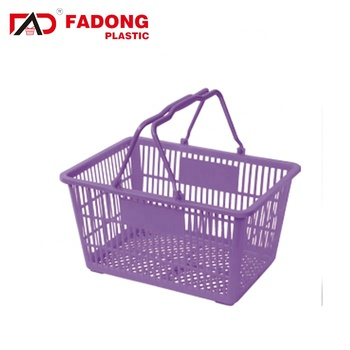 Light plastic supermarket shopping basket with double handles
