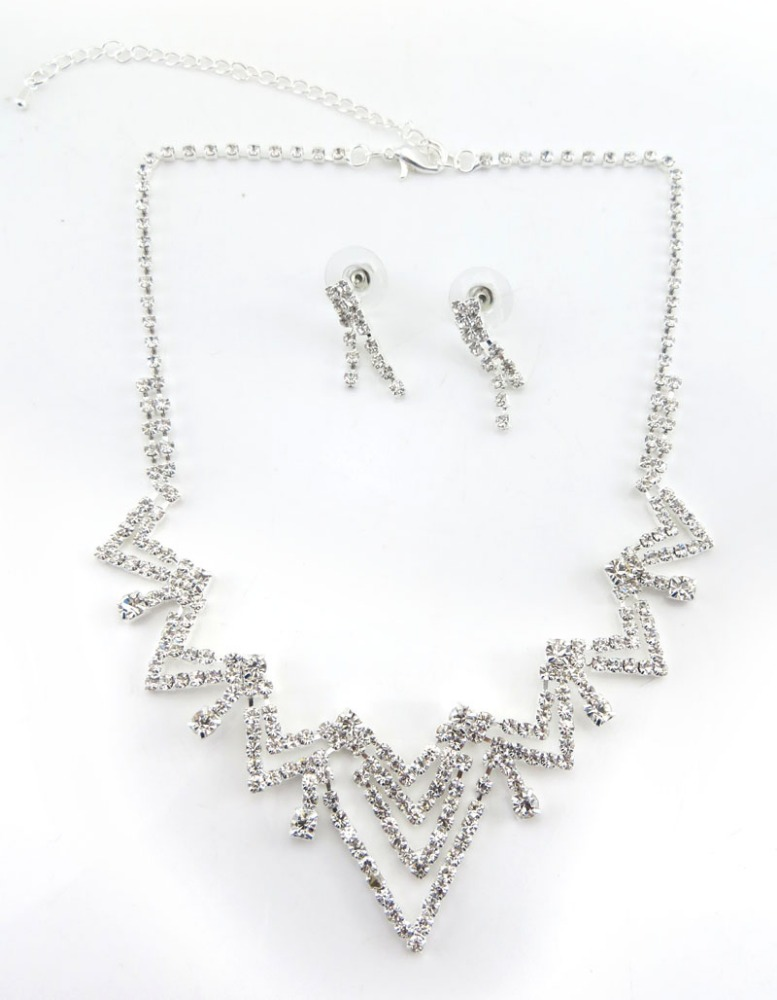 Europe Trendy Silver Plated Clear Cup Chain Necklace Set