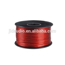 Good quality flexible matte PVC speaker red 15mm OD power cable 50FT/Spool 1/0 AWG copper wire