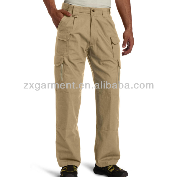 Khaki Cargo Pants With A Lot Of Pockets