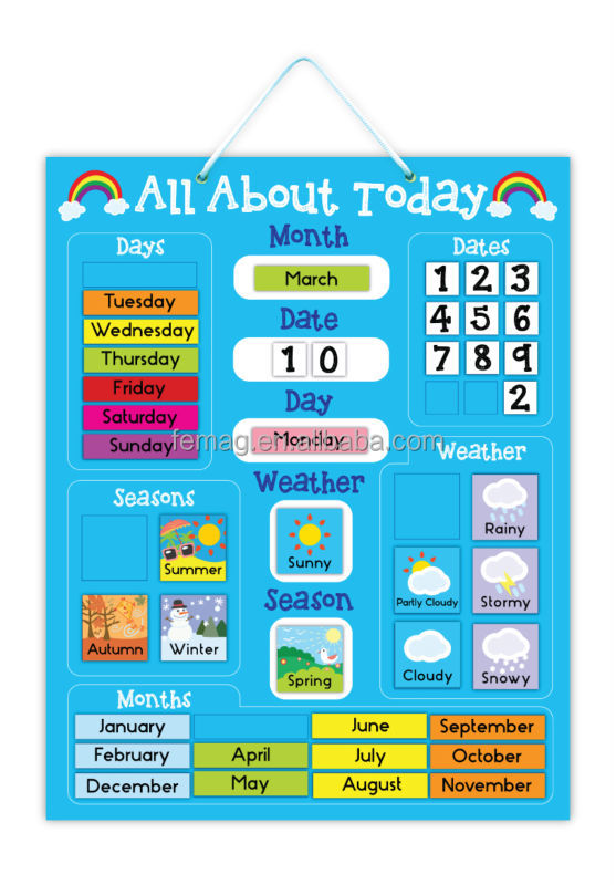 E1004 wholesales top quality for pre-school magnetic learning calendar and weather resources