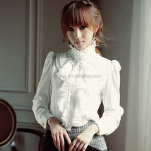 F40958A New spring women apparel stand collar ruffle blouse for woman