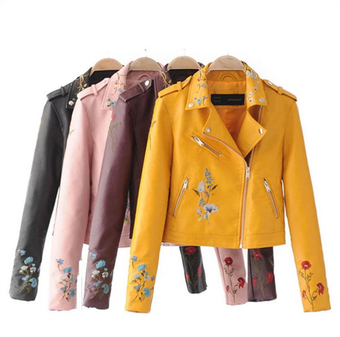 X86062A wholesale clothing ladies woodland pu leather motorcycle jacket