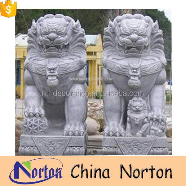 Hand carved stone sitting chinese foo dog lion for doorway decor NTBM-L014Y