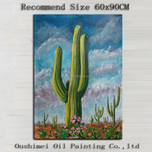 Popular Style Wall Decor Painting Handmade Unique Landscape Desert Cactus Oil Painting On Canvas Wholesale Desert Cactus Artwork