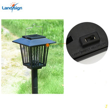 Solar Powered Mosquito Pest insect killer Zapper Lanterns LED Lamp Light Black