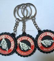 2017 Hot Sale Motorcycle Club Flexible Keychains Plastic Advertising Keyrings Soft PVC Customized round Key Holder chaveiros per