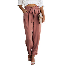Paper Bag Waist Ruffle Pants With Pockets for Women