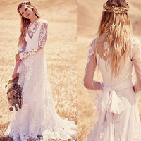Vintage Beach Boho Lace Wedding Dresses Long Sleeves Illusion 2015 Country Lace Bridal Wedding dresses CYW-035