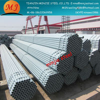 Standarded length up to 12m Construction material galvanized scaffolding pipe for green house