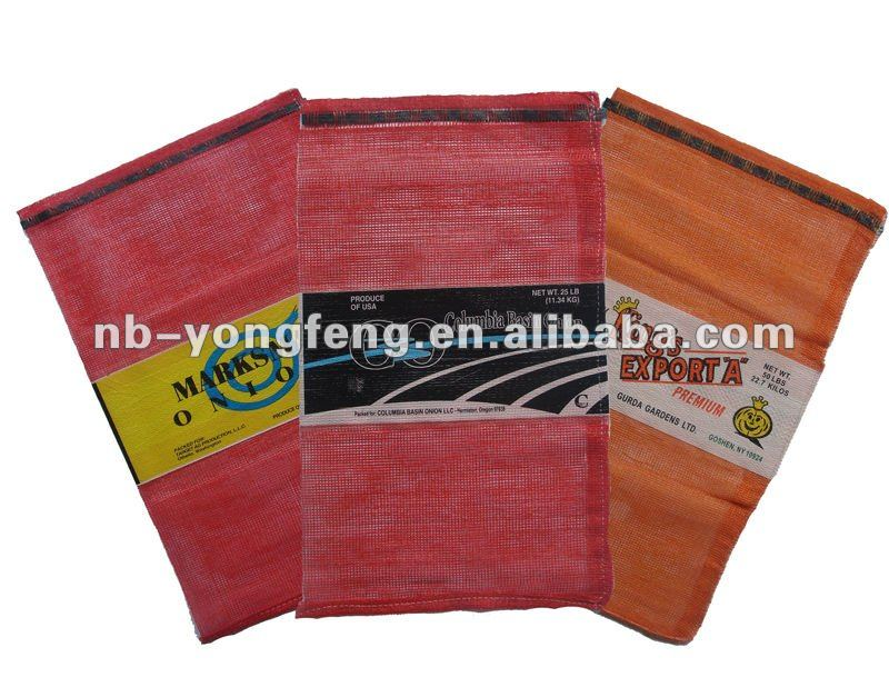 PP Leno mesh bags with label for onions patatoes and firewood