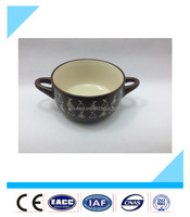 2016 New arrival and hot sale cheap painted stoneware bulk ceramic soup bowls with double handle
