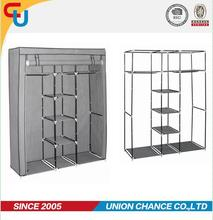 foldable fabric wardrobe with metal tube clothes closet with doors