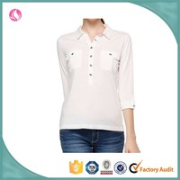 Women's white casual with button polo shirt