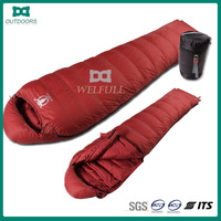 Outdoor Camping Hiking Travel Gear Waterproof White Duck Down Mummy Sleeping Bag