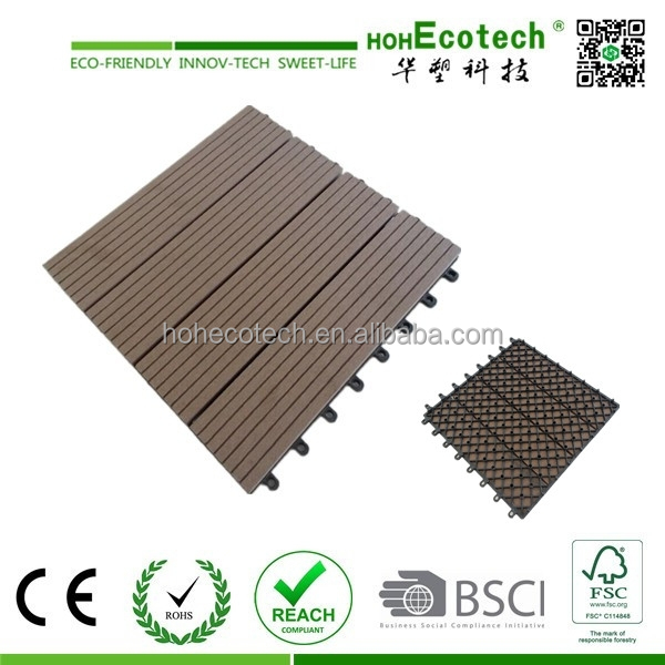interlocking outdoor deck tiles , garden solid teak wood flooring with plastic base