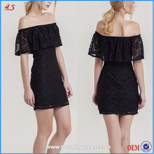 alibaba express china Women off shoulder lace ladies fashion lace black dress