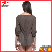 Zippy Clothing Manufacturer Burgundy V-Neck Button Detail Dip Back Blouse Top Chiffon Thailand Ladies Tops China Supplier