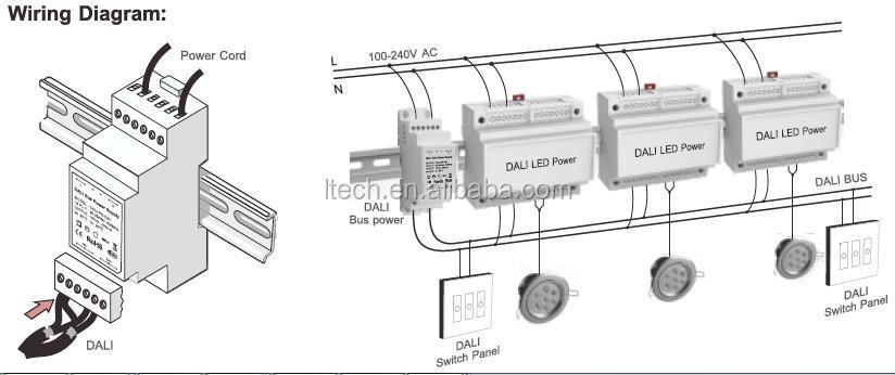 220v Din Rail Transfomer Led Drivers Constant Current Dali