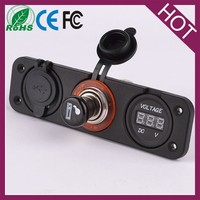 car cigarette lighter voltmeter with power outlet socket