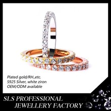 925 sterling silver Pace setting Gold plated CZ ring adjustable long three fingers ring
