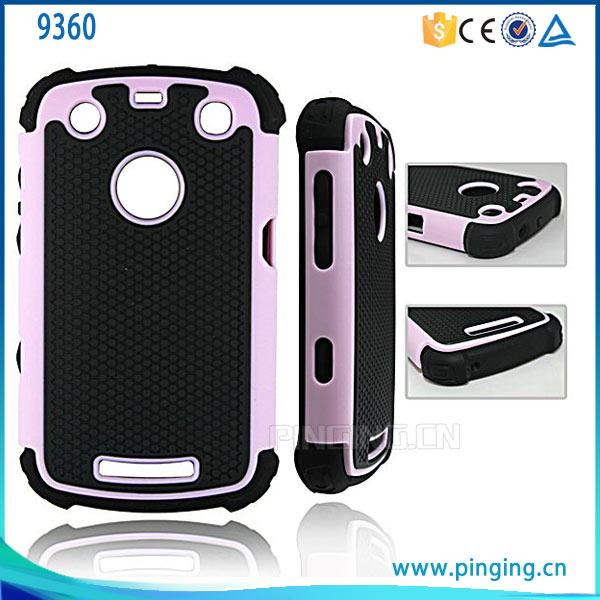 new product PC+TPU Football Pattern Hybrid Protective Case for blackberry 9360 , Back Cover Case for blackberry 9360