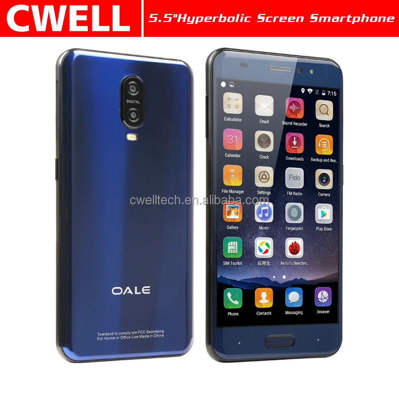 5.5 Inch Hyperbolic Screen Android 6.0 Fingerprint Unlock Quad Core 1GB RAM 16GB ROM cell phone android OALE X3