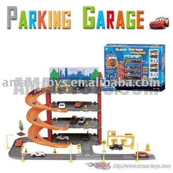 ht-P1688 Park & Play Service Garage with 6 plastic cars