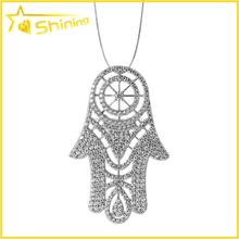 wholesale women fashion turkish jewelry with cz diamond paved hamasa pendant necklace