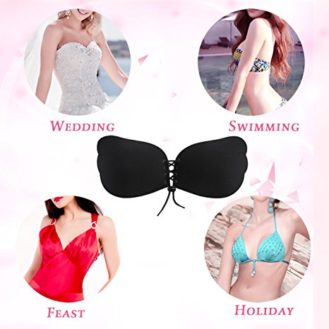 New Arrival Self Adhesive Invisible Silicone Double Push Up Bra Beautiful Bra Sexy Bra Design For EFG Cup